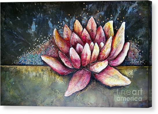 Metallic Canvas Print - Self Portrait With Lotus by Shadia Derbyshire