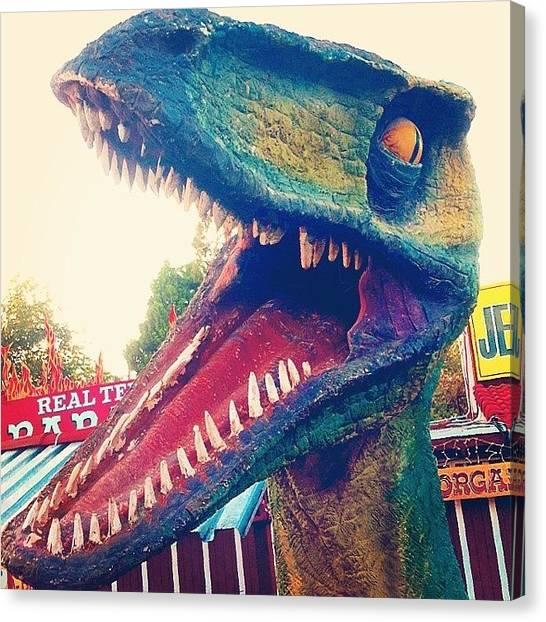 Velociraptor Canvas Print - Selfie ! #selfie #raptor #dinosaur by Chase Alexander