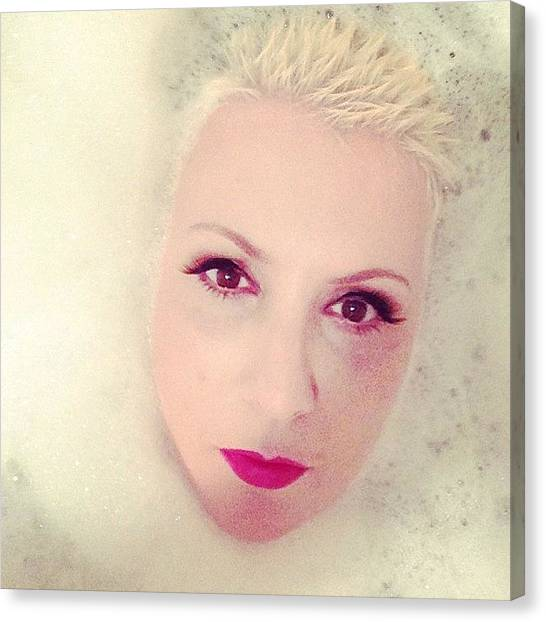 Rebirth Canvas Print - #selfie #bathtube #bubbles by Sandra Bilokonsky