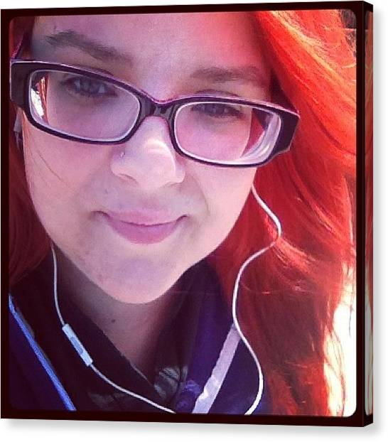 Headphones Canvas Print - #selfy At The Bus Stop 🚍 #red by Katrina A