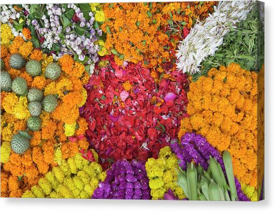 Diwali Canvas Print - Selling Flowers For Diwali, Festival by Keren Su