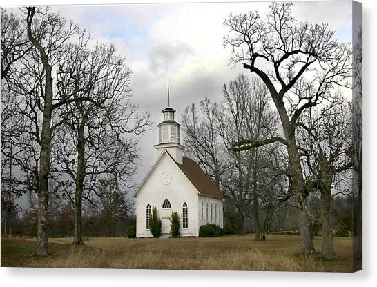 Selma United Methodist Church In Winter Canvas Print
