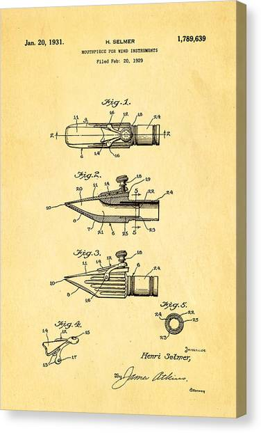 Wind Instruments Canvas Print - Selmer Mouthpiece For Wind Instruments Patent Art 1931 by Ian Monk