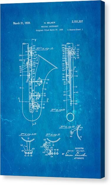 Household Canvas Print - Selmer Saxophone Patent Art 1939 Blueprint by Ian Monk
