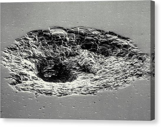 Space Shuttle Canvas Print - Sem Of Impact Crater In Space Shuttle Window by Nasa/science Photo Library