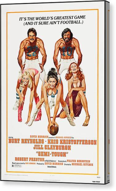 Burt Reynolds Canvas Print - Semi-tough, Us Poster Art, Top by Everett