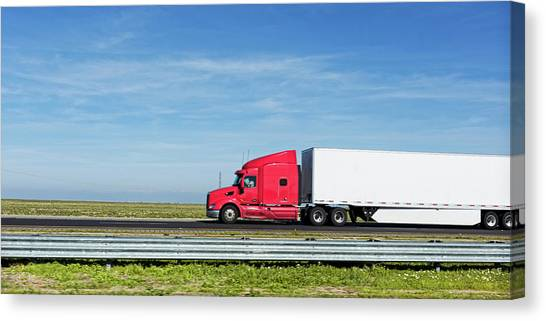 Interstates Canvas Print - Semi Truck Moving On The Highway by Panoramic Images