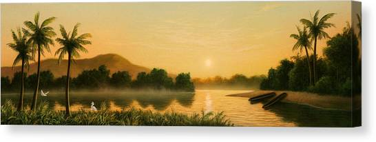 Egrets Canvas Print - Seminole Sunset by Jerry LoFaro