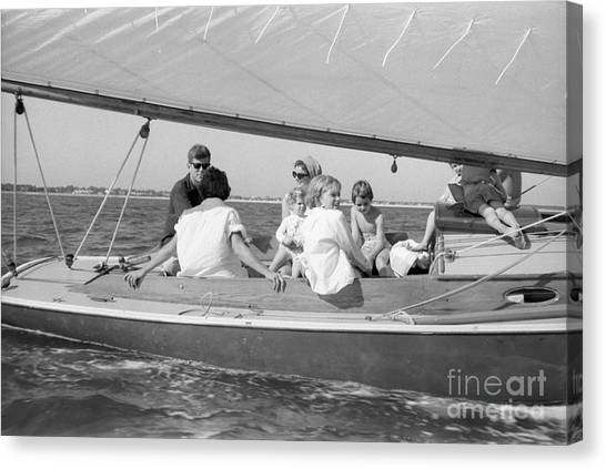 John F. Kennedy Canvas Print - Senator John F. Kennedy With Jacqueline And Children Sailing by The Harrington Collection