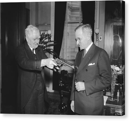 Harry Truman Canvas Print - Senatorial Stickup by Underwood Archives