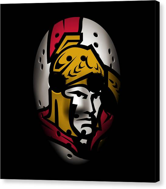 Ottawa Senators Canvas Print - Senators Goalie Mask by Joe Hamilton