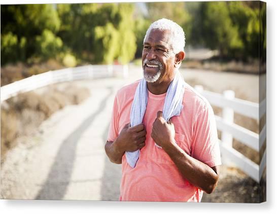 Senior Black Man After Workout Canvas Print by Adamkaz