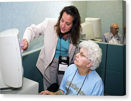 Conference Usa Canvas Print - Senior Citizen Learning To Use Computer by Jim West