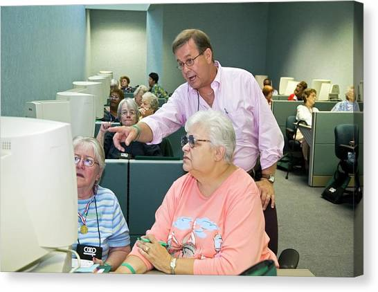 Conference Usa Canvas Print - Senior Citizens Learning To Use Computers by Jim West