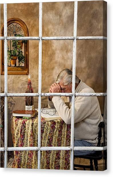 Senior Male Praying Canvas Print