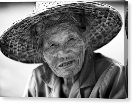 Senior Vendor Thai Woman Canvas Print