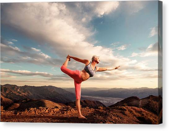 Senior Woman Doing Yoga Outdoors Canvas Print By John Mireles