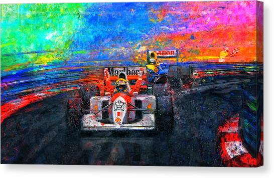 Formula 1 Canvas Print - Senna For The Win by Alan Greene