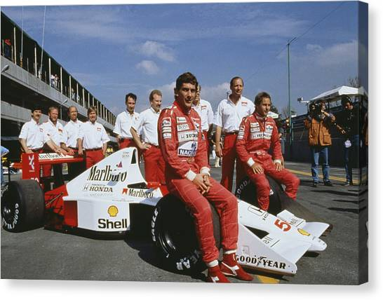 Senna With Mclaren Team Canvas Print by Getty Images