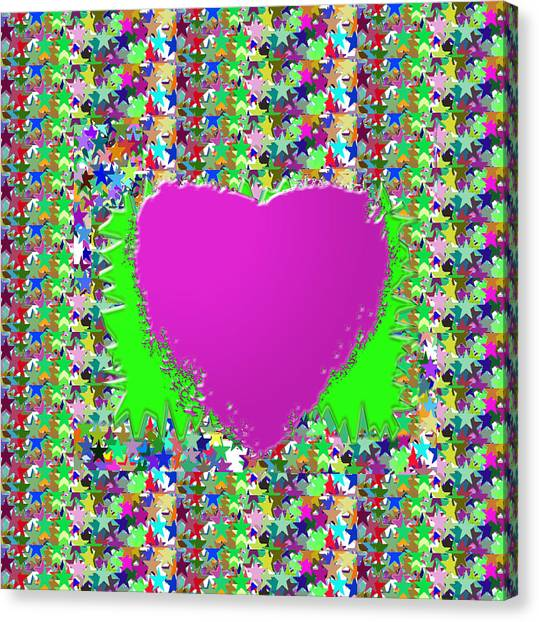 Bachelorette Canvas Print - Sensual Pink Heart N Star Studded Background by Navin Joshi