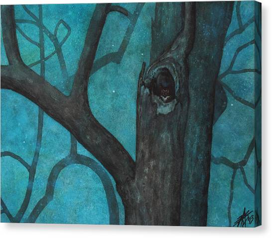 Sentinel Or Great Horned Owl In Cottonwood Tree Canvas Print