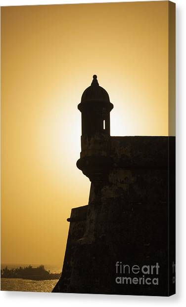 Canvas Print featuring the photograph Sentry Box At Sunset At El Morro Fortress In Old San Juan by Bryan Mullennix