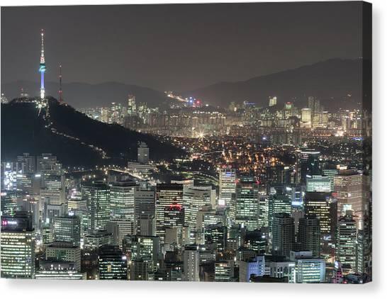 Seoul City Skyline At Night Overview Canvas Print by Steffen Schnur
