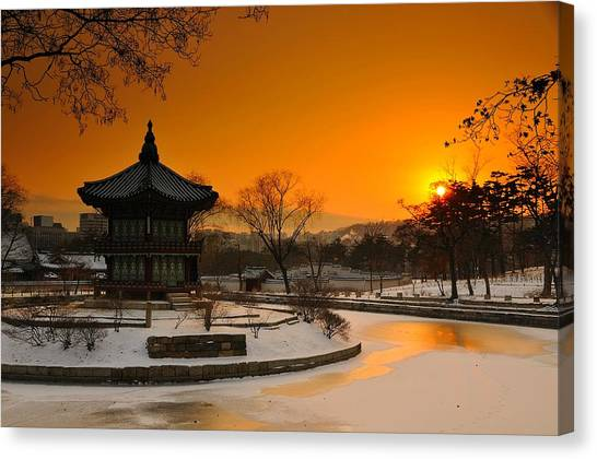 Winter Scenery Canvas Print - Seoul Palace Sunset by Aaron Bedell