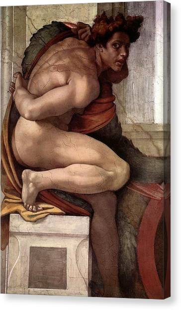 Michelangelo Simoni Canvas Print - Separation Of Land From Sea - Ignudo Detail by Michelangelo Buonarroti