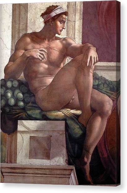 Michelangelo Simoni Canvas Print - Separation Of Light From Darkness - Ignudo Detail by Michelangelo Buonarroti