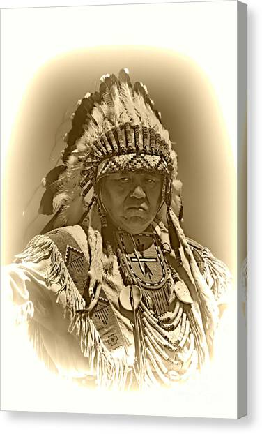 Sepia Chief Canvas Print by Scarlett Images Photography