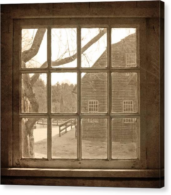 Sepia Colonial Scene Through Antique Window Canvas Print