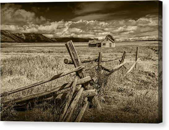 Sepia Colored Photo Of A Wood Fence By The John Moulton Farm Canvas Print