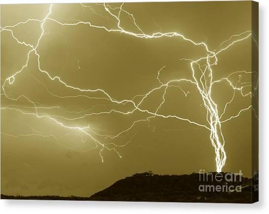 Sepia Converging Lightning Canvas Print