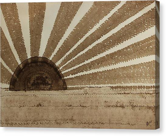 Sepia Sunset Original Painting Canvas Print