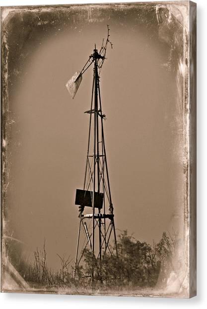 Sepia Windmill Canvas Print by Mikki Cromer