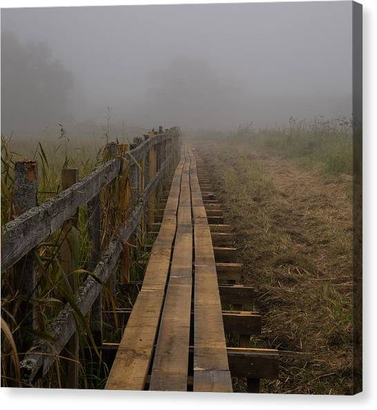 September Mist Hdr - Foggy Day Over Walk Way Canvas Print