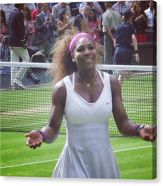 Tennis Pros Canvas Print - Serena Williams After Winning The Ladies Final At Wimbledon 2012 by Lottie H