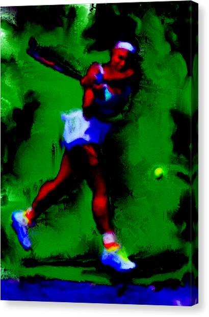 Venus Williams Canvas Print - Serena Williams Powerful Return by Brian Reaves