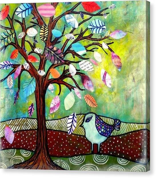 Robins Canvas Print - Serendippity. #collage #mixedmedia by Robin Mead