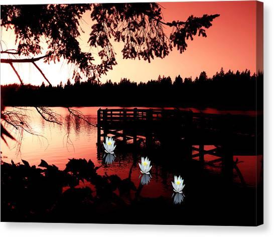 Serene Scene At Lake Ballinger Canvas Print
