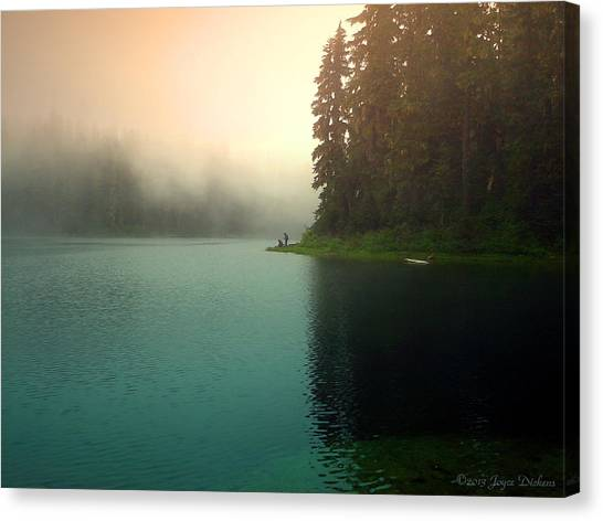 Serenity On Blue Lake Foggy Afternoon Canvas Print