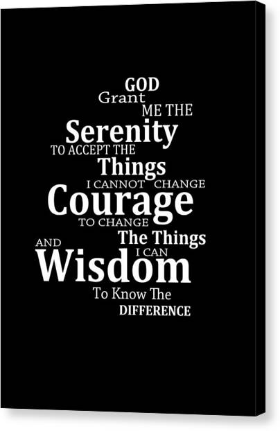 Serenity Prayer Canvas Print - Serenity Prayer 5 - Simple Black And White by Sharon Cummings