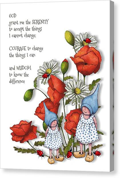 Serenity Prayer Canvas Print - Serenity Prayer With Flowers And Gnomes by Joyce Geleynse