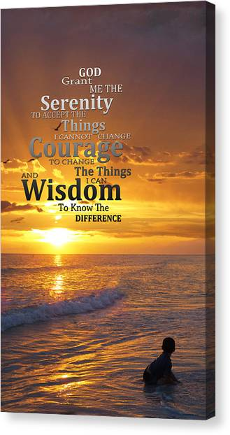 Wells Beach Canvas Print - Serenity Prayer With Sunset By Sharon Cummings by Sharon Cummings