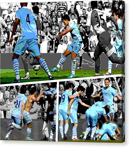 Soccer Canvas Print - Sergio Aguero Goal Vs Qpr by Pro Prints