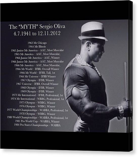 Gym Canvas Print - Sergio Oliva The Myth by Nigel Williams