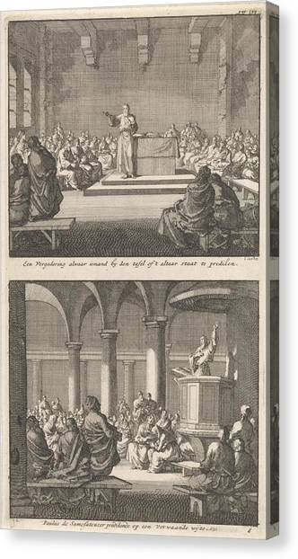 Early Christian Art Canvas Print - Sermon By A Priest At An Altar And Paul Of Samosata by Jan Luyken And Barent Visscher And Jacobus Van Hardenberg