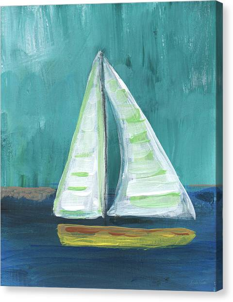 California Landscape Art Canvas Print - Set Free- Sailboat Painting by Linda Woods