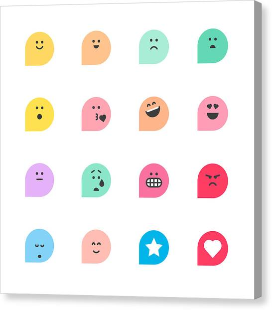 Set Of Basic Emoticons Reactions Canvas Print by Calvindexter